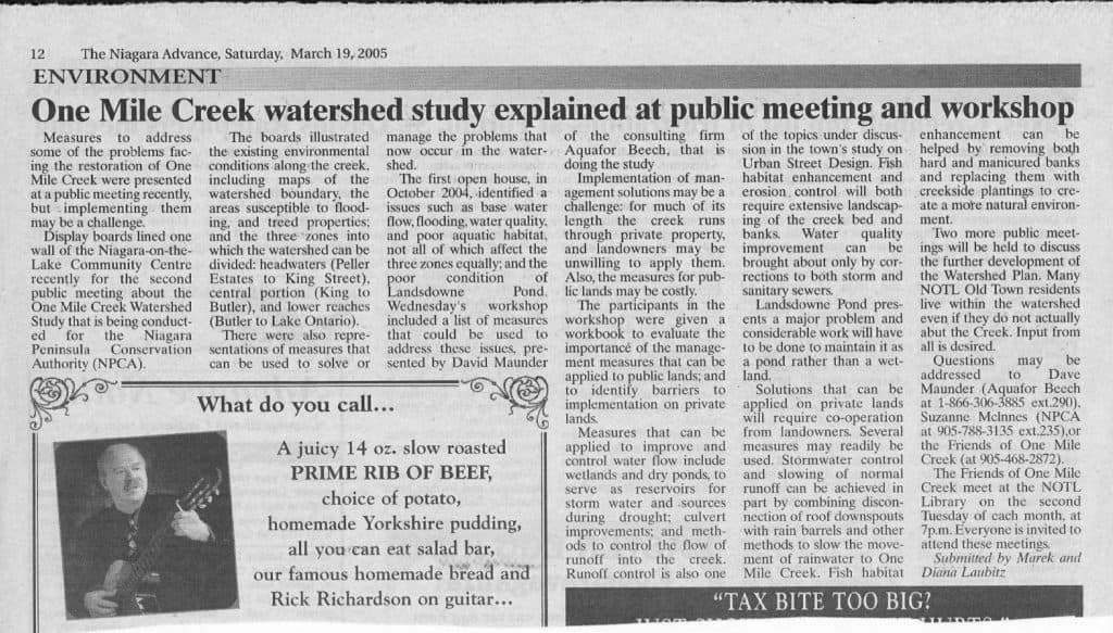 March 19, 2005: Article in Niagara Advance about One Mile Creek study