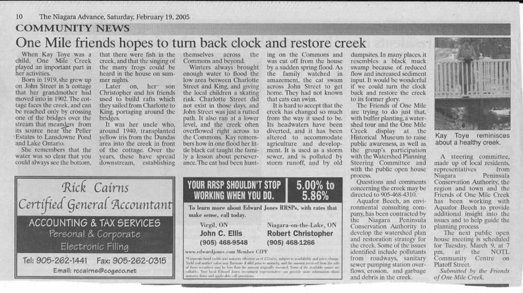 Feb. 19, 2005: Article in the Niagara Advance about memories of the creek